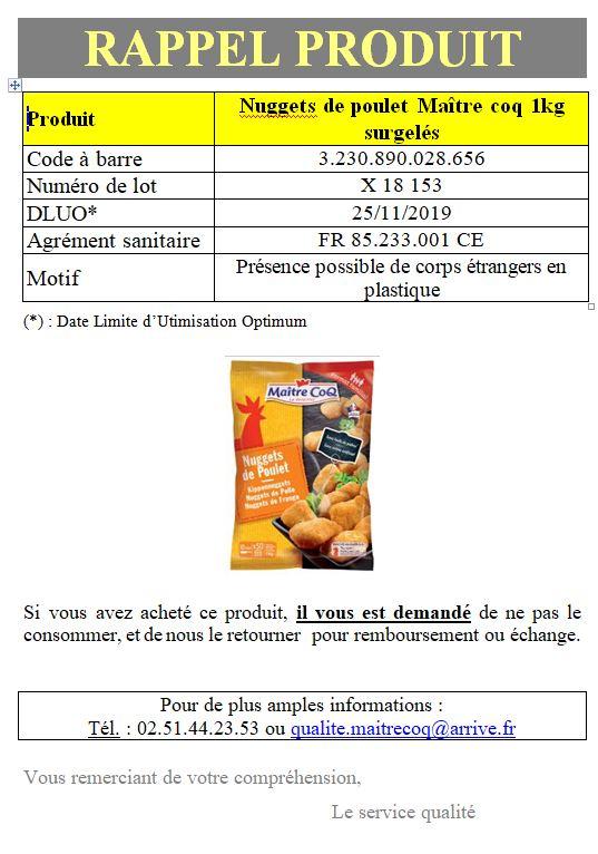 Nuggets Maître coq INFO CONSOMMATEUR   Rappel de produit Nuggets de poulet surgelés Maître Coq