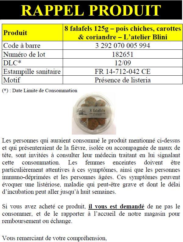 Rappel produit latelier blini INFO CONSOMMATEUR   Rappel de produit Falafels Latelier Blini
