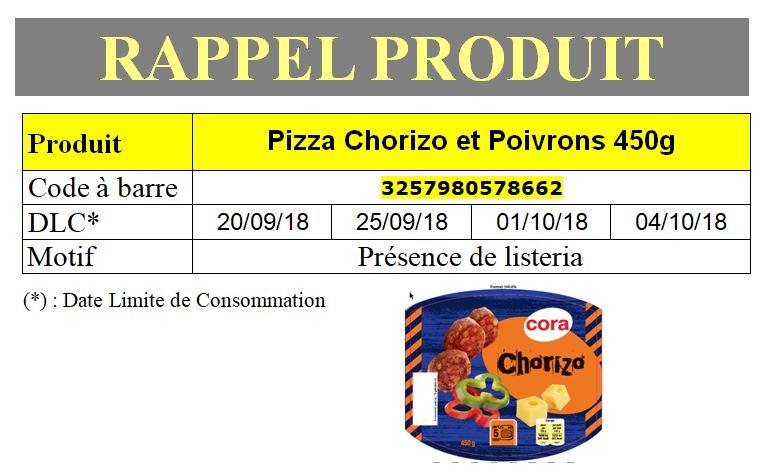 INFO CONSOMMATEUR – Rappel de produit Pizza Chorizo et Poivrons 450g Cora Rappel produit Rappel de produit Pizza Chorizo et Poivrons 450g Cora 3