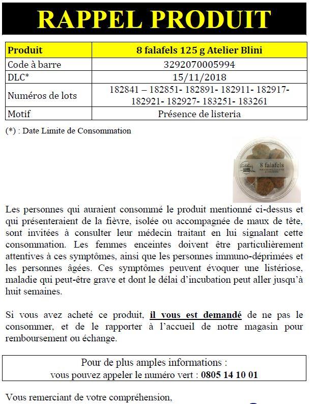 INFO CONSOMMATEUR – Rappel de produit 8 Falafels 125g Atelier Blini Rappel produit cora falafels