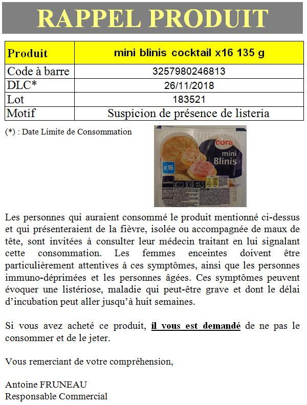 INFO CONSOMMATEUR – Rappel de produit Mini Blinis rappel produit blini