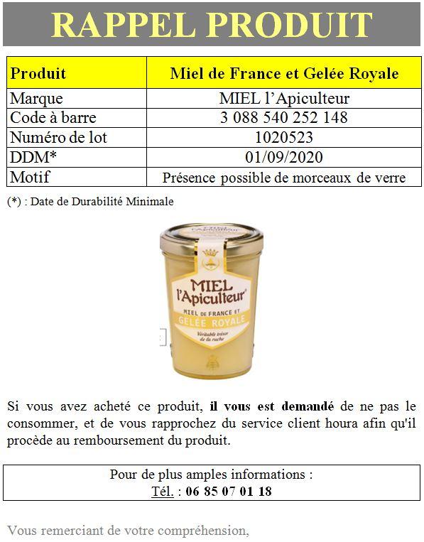 INFO CONSOMMATEUR – Rappel de produit MIEL l'Apiculteur Rappel produit miel 1
