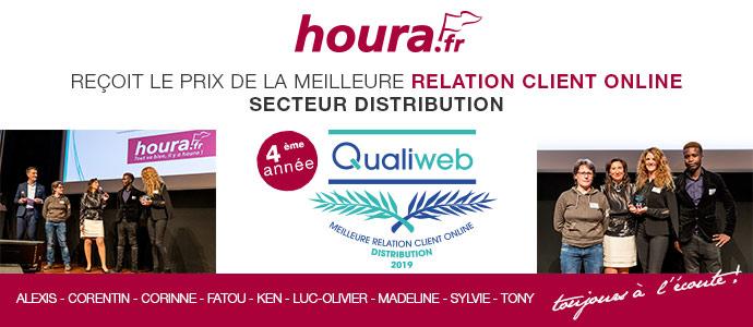 houra.fr récompensé par le trophée Qualiweb dans le secteur distribution pour la qualité de son service client pour la 4ème fois. Blog Prix Qualiweb 2019
