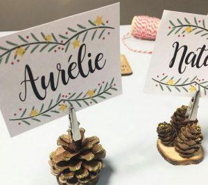 Décorations de Noël DIY marque place pomme de pin