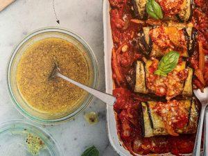 Cannellonis d'aubergine, viande hachée et ricotta